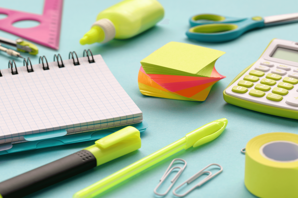A variety of office supplies