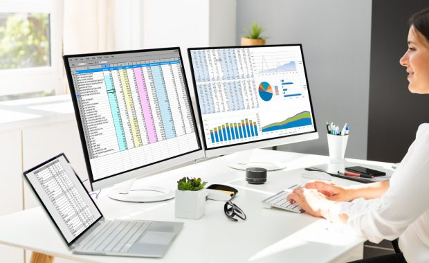 Woman tracking expenses